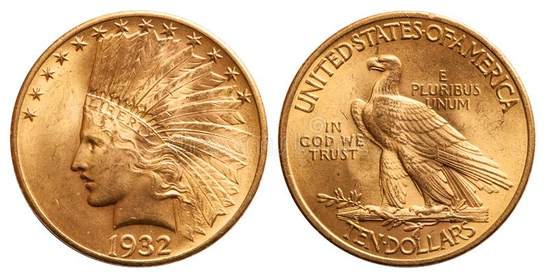 United states gold coin 10 dollar indian head vintage 1932. Front indian head, reverse eagle royalty free stock photos