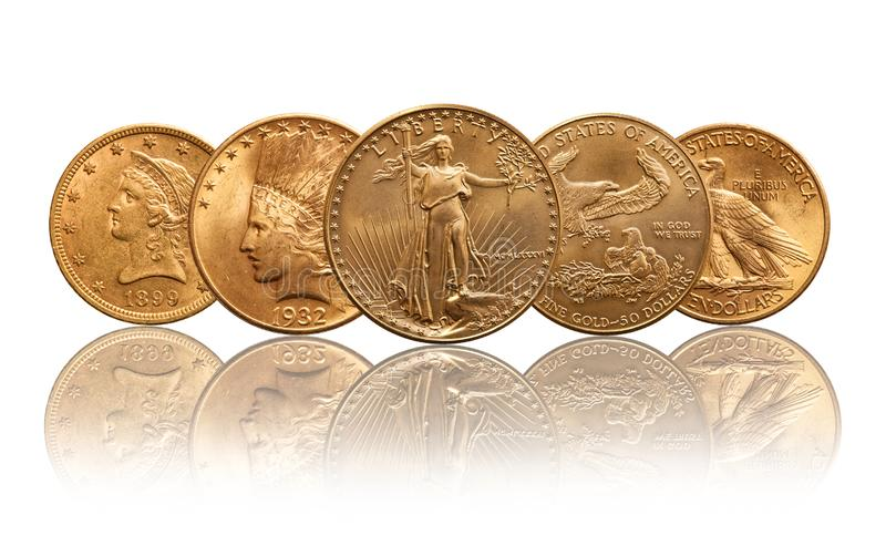 United states gold coins liberty, indian head, eagle stock image