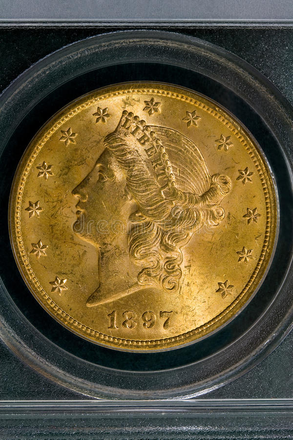 1897 United States $20 Gold Liberty Coin. Early U. S. Currency. Contains almost an ounce of gold royalty free stock photo