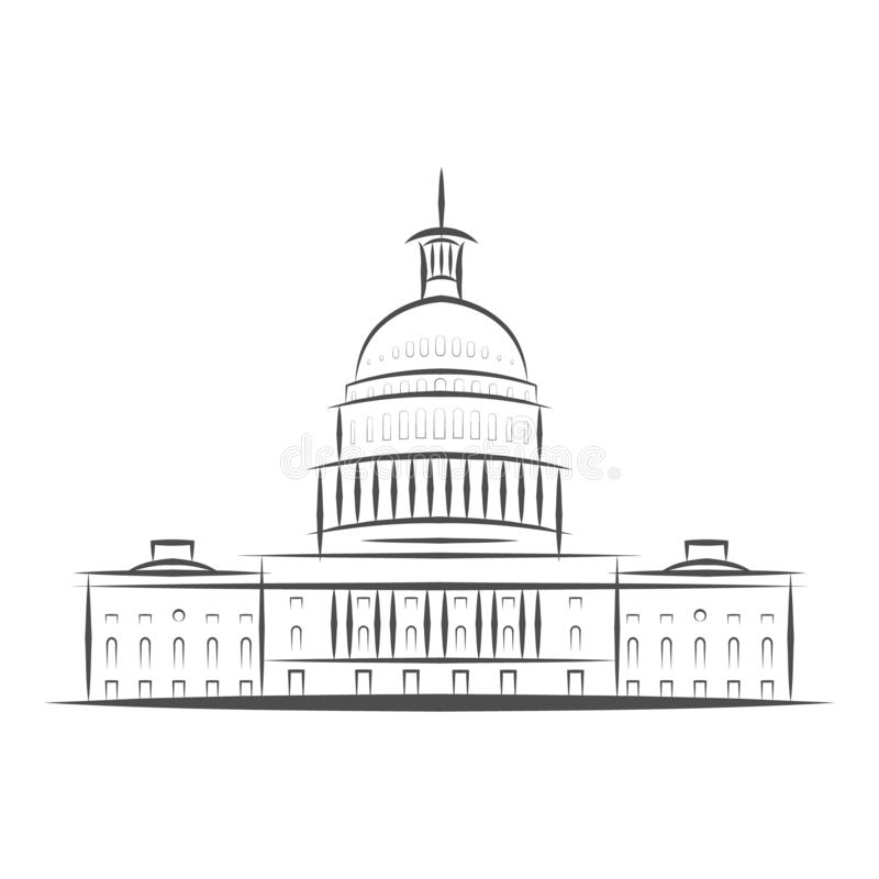 United States Government icon. Capitol building logo. Premium design. Vector thin line icon isolated on white background vector illustration