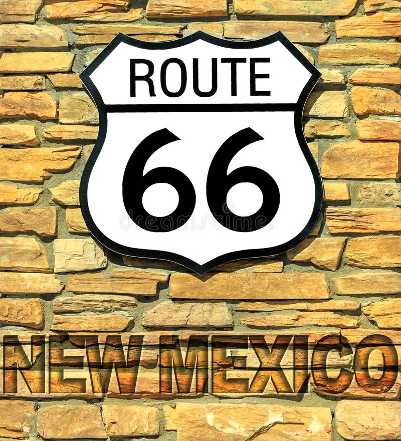 Route 66 New Mexico sign. United States historic Route 66 road sign of New Mexico on a brick wall. American highway from Chicago city of Illinois to Santa Monica royalty free stock photography