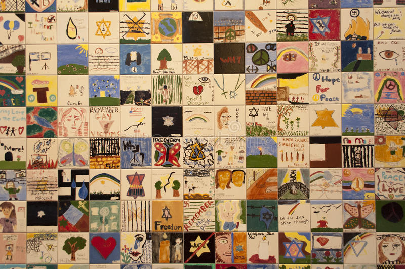 United States Holocaust Memorial Museum. An image of the Children's Tile Wall at the United States Holocaust Memorial Museum in Washington DC royalty free stock photography
