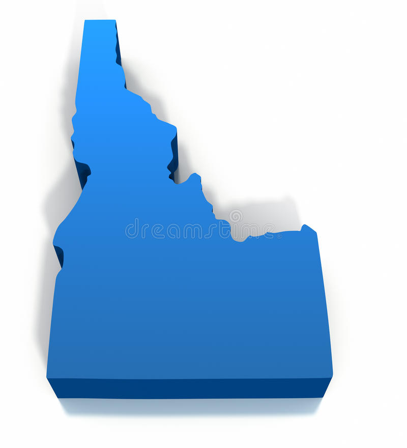 United States Idaho Map Outline. On a white background. Clipping path included stock illustration