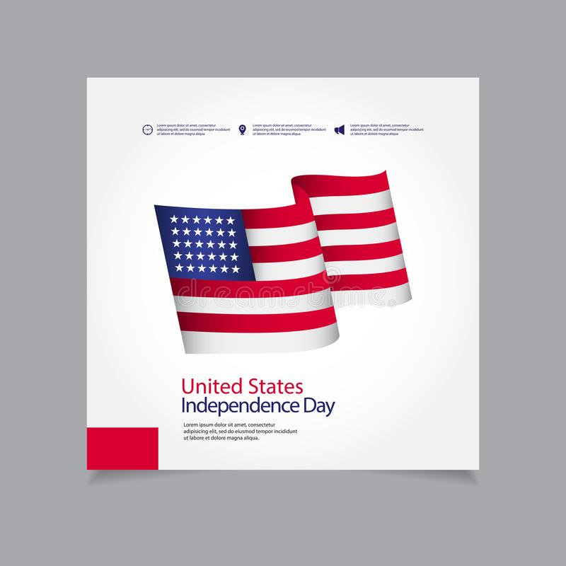 United States Independence Day Celebration Vector Template Design Illustration. July, 4th, happy, usa, american, fourth, background, flag, card, greeting royalty free illustration