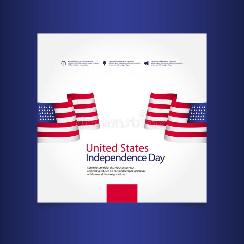 United States Independence Day Celebration Vector Template Design Illustration. July, 4th, happy, usa, american, fourth, background, flag, card, greeting stock illustration
