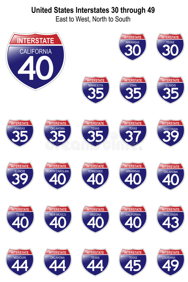 Download United States Interstate Signs I-30 To I-49 Stock Vector - Image: 7599217