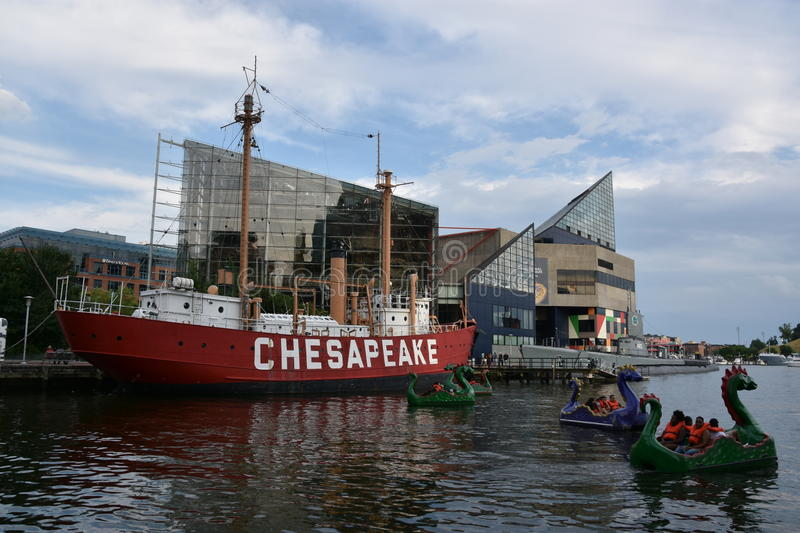 United States lightship Chesapeake LV-116 in Baltimore, Maryland. United States lightship Chesapeake LV-116 docked at the Inner Harbor in Baltimore, Maryland royalty free stock image