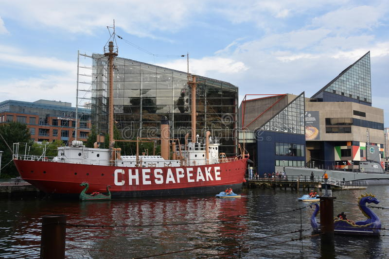 United States lightship Chesapeake LV-116 in Baltimore, Maryland. United States lightship Chesapeake LV-116 docked at the Inner Harbor in Baltimore, Maryland royalty free stock images