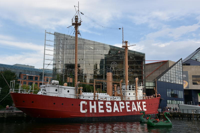 United States lightship Chesapeake LV-116 in Baltimore, Maryland. United States lightship Chesapeake LV-116 docked at the Inner Harbor in Baltimore, Maryland stock photo
