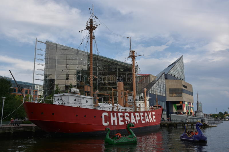 United States lightship Chesapeake LV-116 in Baltimore, Maryland. United States lightship Chesapeake LV-116 docked at the Inner Harbor in Baltimore, Maryland royalty free stock photo