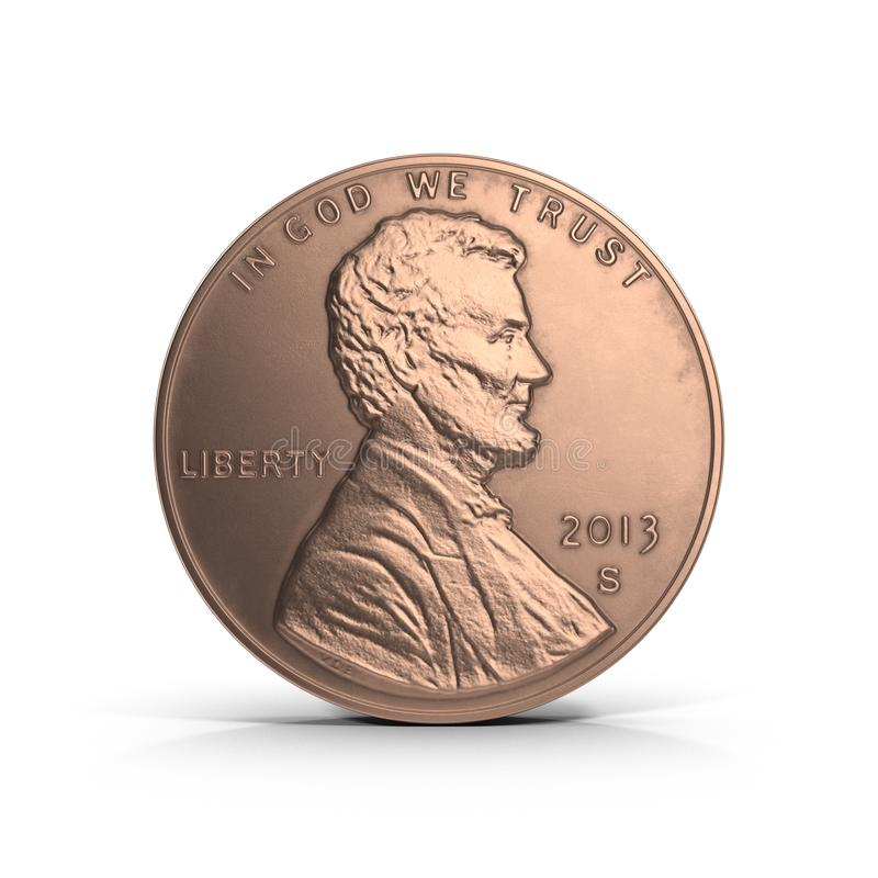 United States Lincoln Penny on white. 3D illustration royalty free illustration