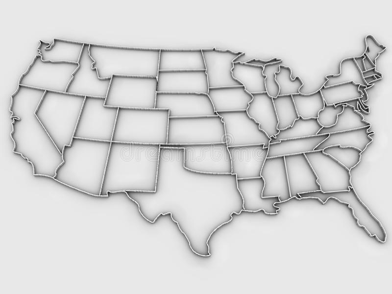 United States map 3d stock illustration Illustration of isolated