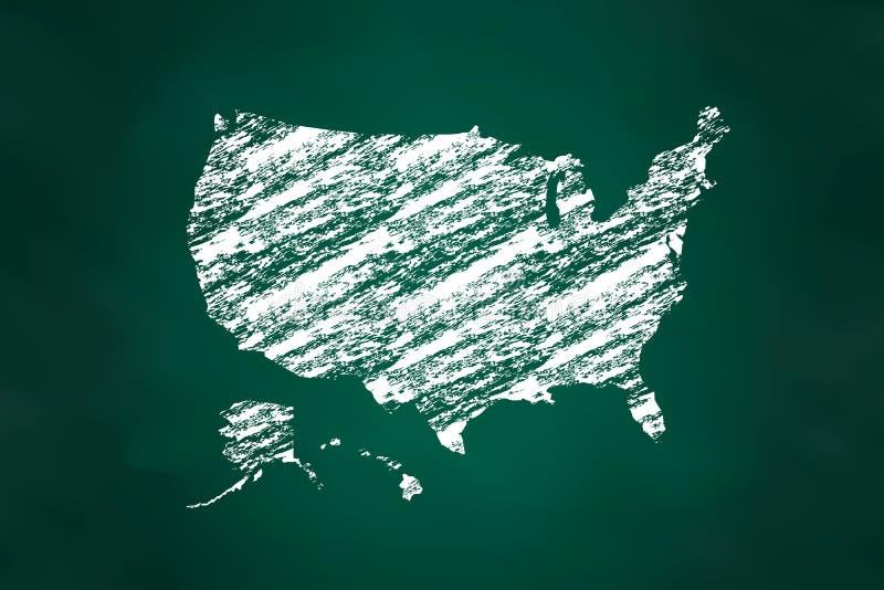 United States Map Chalk Style royalty free illustration