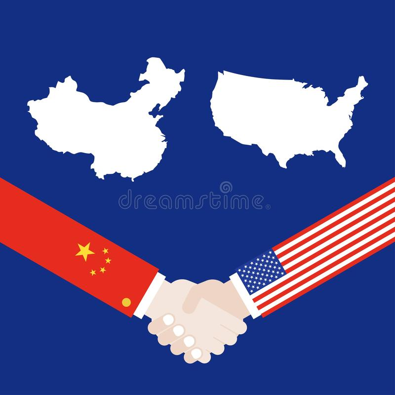 USA and China with shaking hands vector. United states map and China map with shaking hands vector royalty free illustration