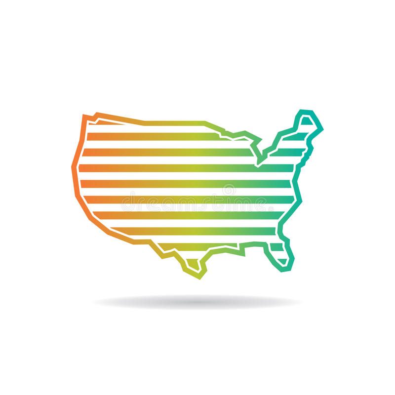 United States Map Horizontal Stripes Logo Design vector illustration