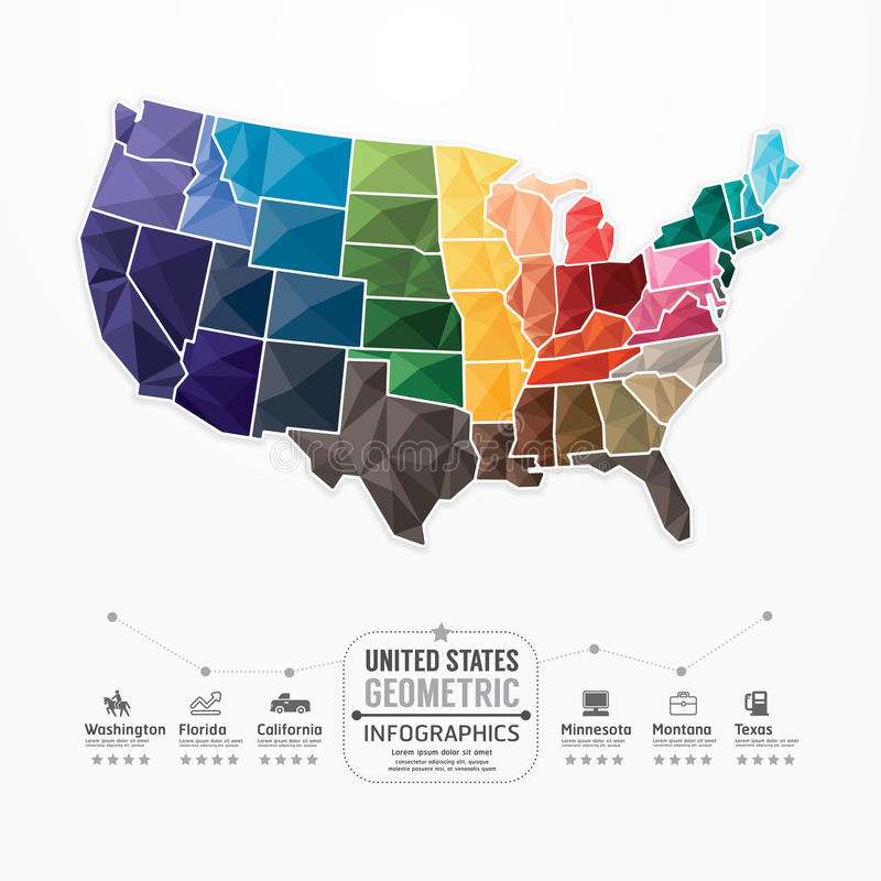Free United States Map Infographic Template Geometric Concept Banner. Stock Photography - 40262652