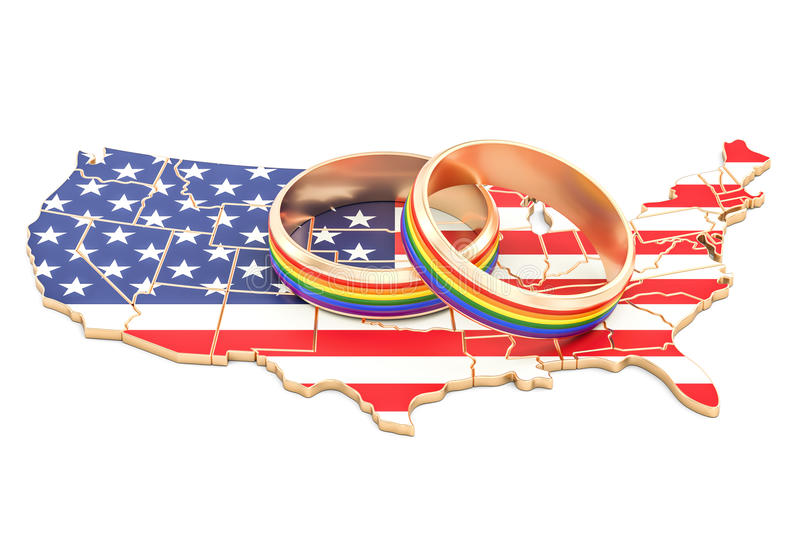 United States map with LGBT rainbow rings, 3D rendering stock illustration