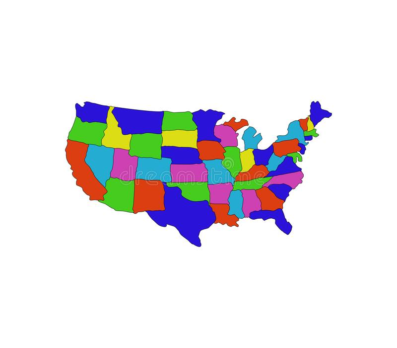 United States Map With Regions Stock Illustration Illustration of