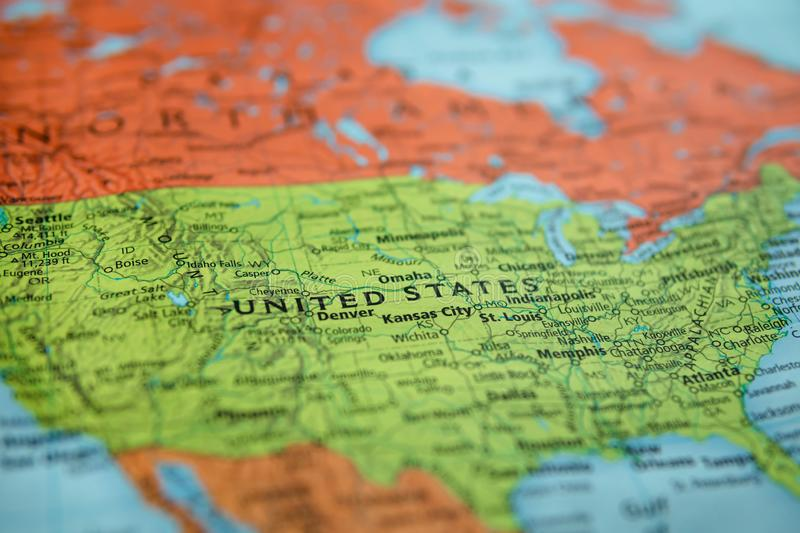 United States on a map. Selective focus on label stock photography