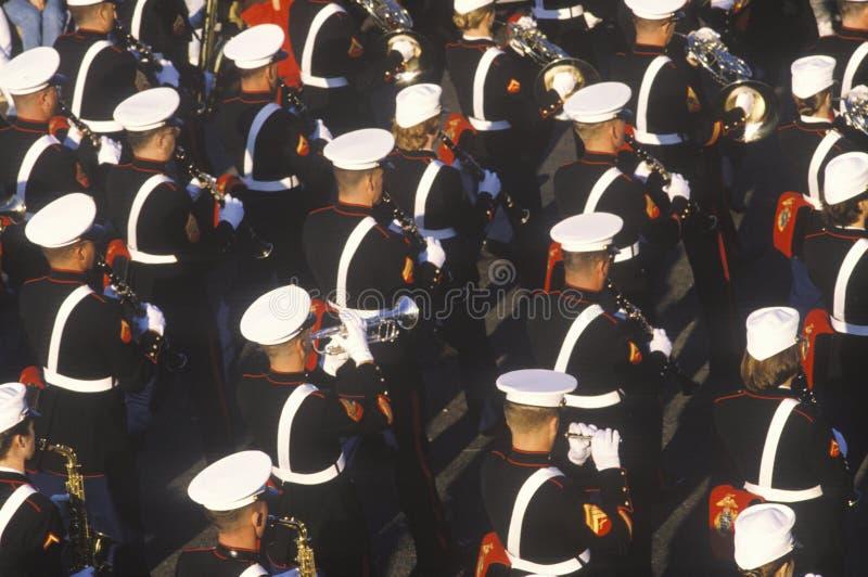 United States Marine Band. Marching in Parade, Pasadena, California royalty free stock photography