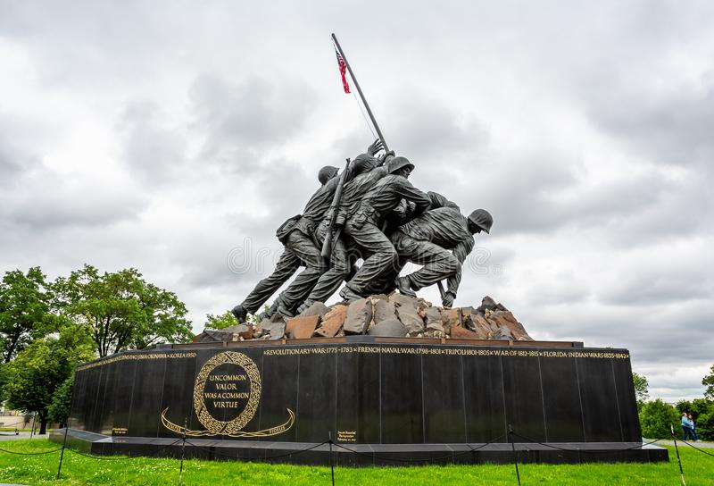 United States Marine Corp War memorial depicting flag planting on Iwo Jima in WWII in Arlington, Virginia, USA. On 13 May 2019 royalty free stock images