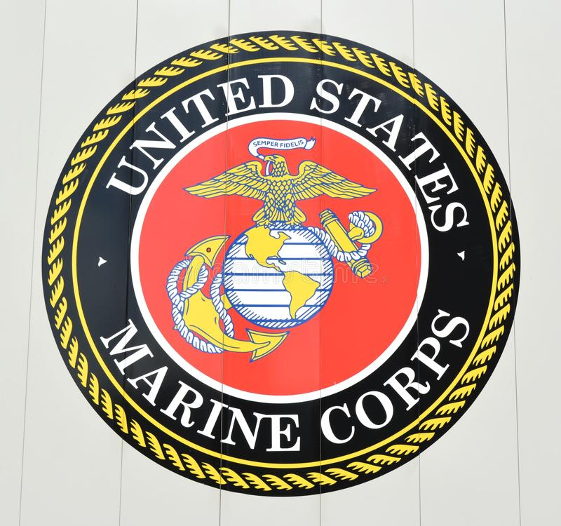 United States Marine Corps Emblem. View of a United States Marine Corps Emblem that is part of a veterans memorial royalty free stock images