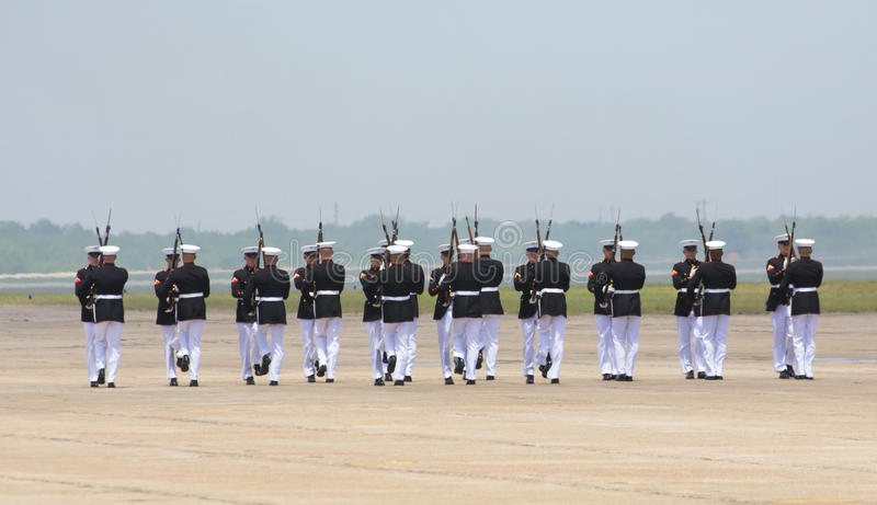 United States Marine Corps Silent Drill Team. At the Wings Over South Texas Air Show, Kingsville, Texas stock images