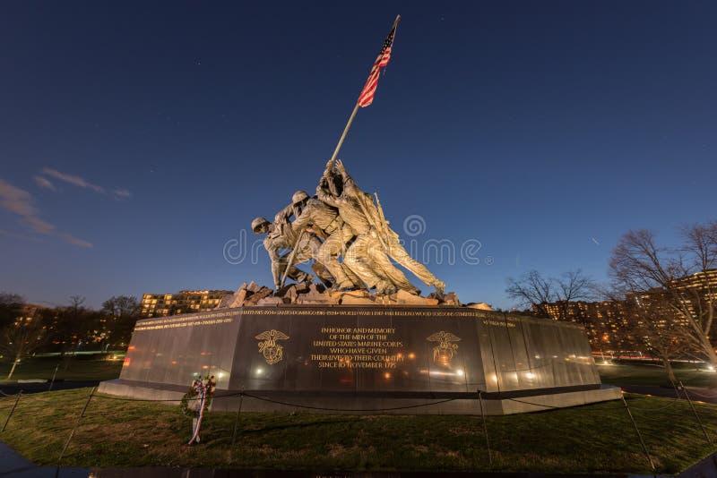 United States Marine Corps War Memorial. The United States Marine Corps War Memorial depicting the flag raising at Iwo Jima at dusk stock photo