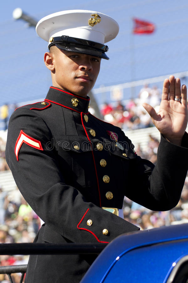 United States Marine. A proud uniformed United States Marine in parade for America Veterans royalty free stock photo