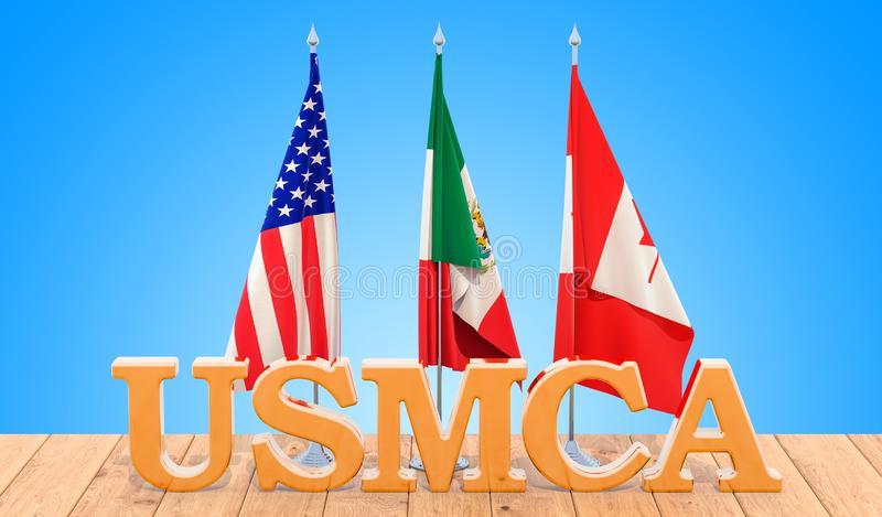United States Mexico Canada Agreement, USMCA concept on the wood royalty free illustration
