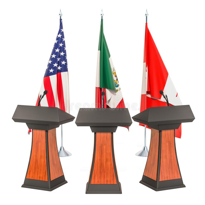 United States - Mexico - Canada Agreement, USMCA or NAFTA meeting concept. 3D rendering vector illustration