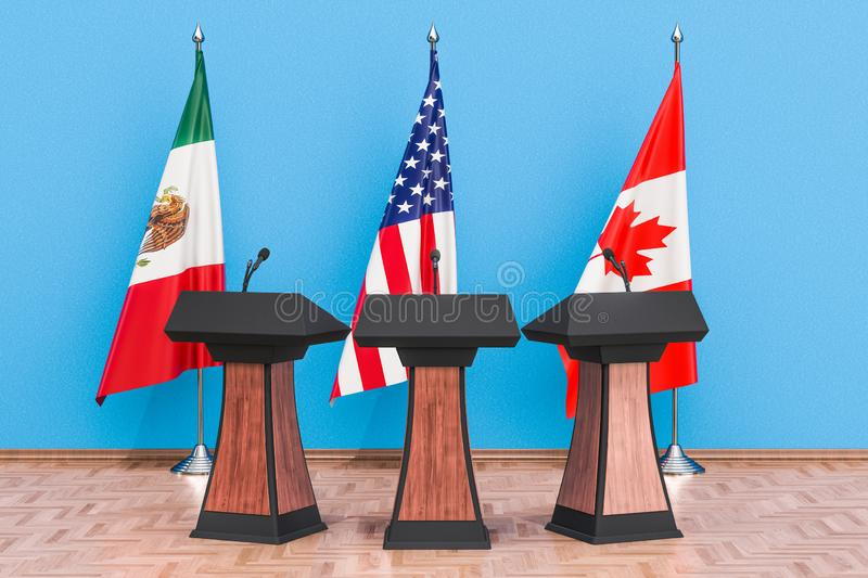 United States Mexico Canada Agreement, USMCA or NAFTA meeting co vector illustration