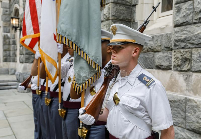 United States Military Academy USMA. NEW YORK, USA - Sep 18, 2017: Honor guard of the United States Military Academy USMA, also known as West Point, Army, The stock image