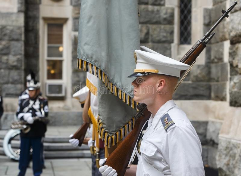 United States Military Academy USMA. NEW YORK, USA - Sep 18, 2017: Honor guard of the United States Military Academy USMA, also known as West Point, Army, The stock photography