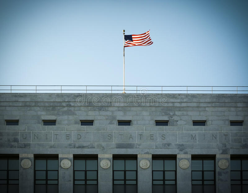 United States Mint. US Mint building and a flag stock photography