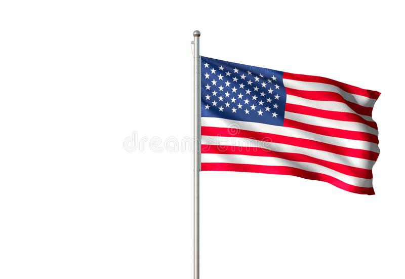 United States national flag waving isolated white background realistic 3d illustration vector illustration