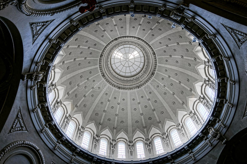 United States Naval Academy Chapel Dome Interior. United States Naval Academy Chapel landmark church dome interior ceiling from below at the all faith house of stock image