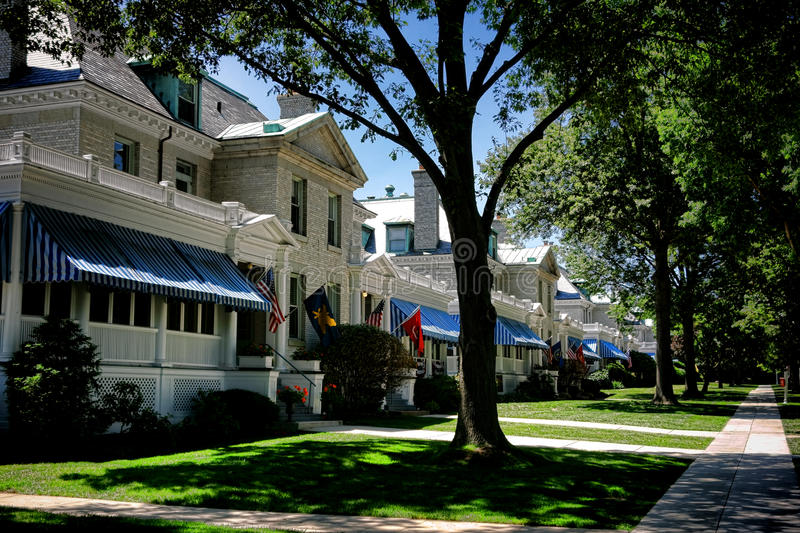 United States Naval Academy Housing in Annapolis MD. United States Naval Academy senior naval officer housing houses row and walkway on Captain Row at Porter royalty free stock photo
