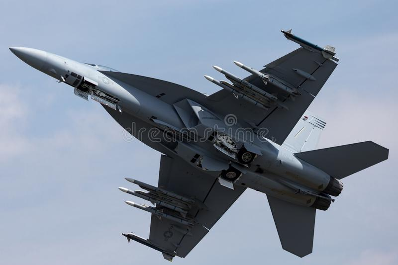 United States Navy Boeing F/A-18F Super Hornet mulitrole fighter aircraft. stock image