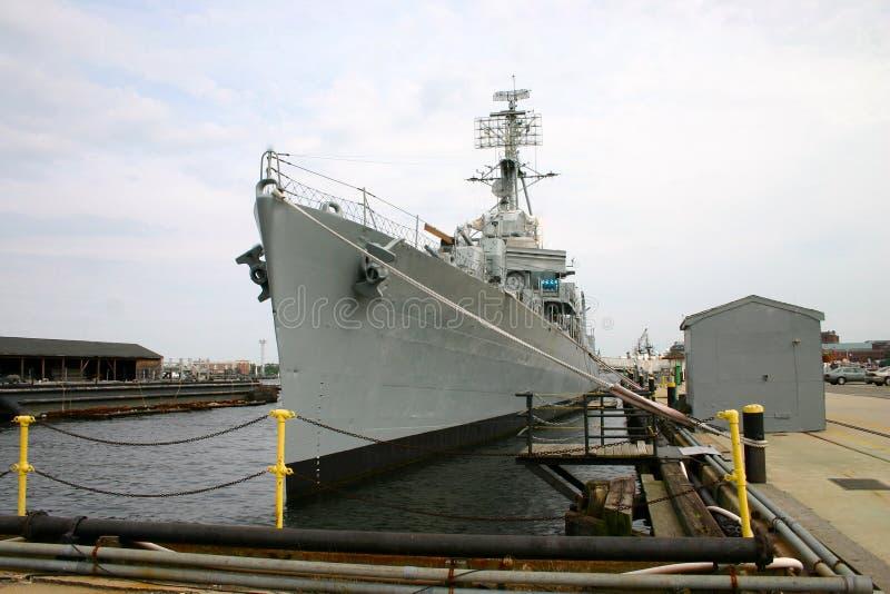 United States Navy Destoyer. United States Navy destroyer sitting in port stock image