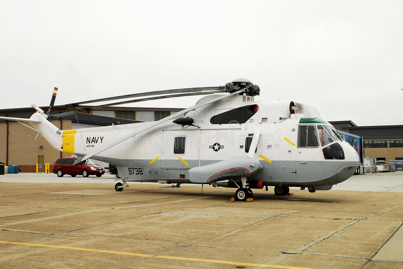 United States Navy rescue copter. USN rescue helicopter is on display at the Quonset Airshow, June 25 -26, 2001 in North Kingstown, RI royalty free stock image
