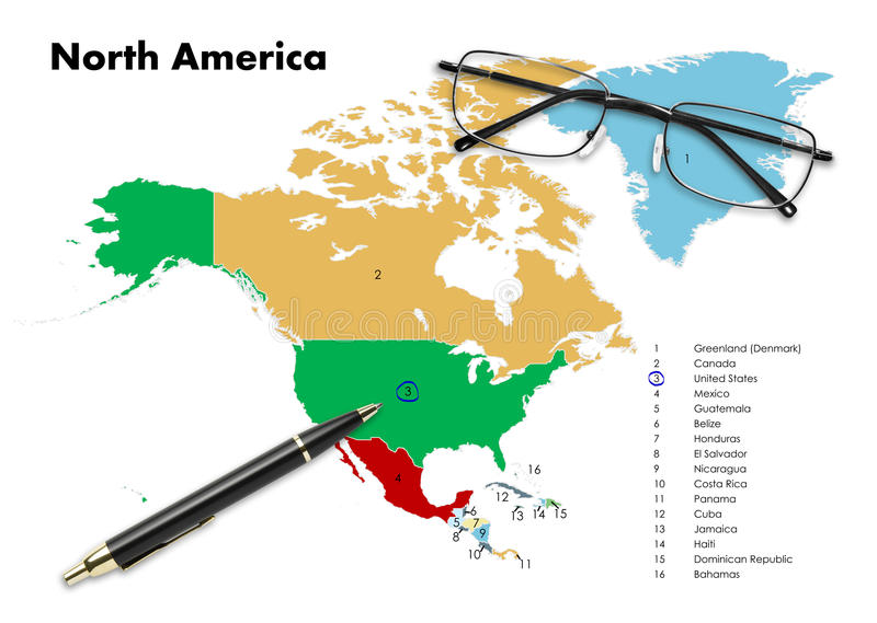 United States on north america map. With pen & eyeglasses stock photography