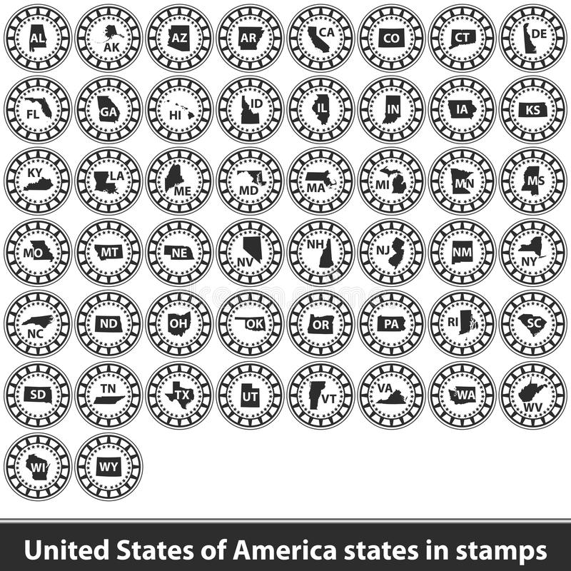 Free United States Of America States In Stamps Stock Photography - 118780862