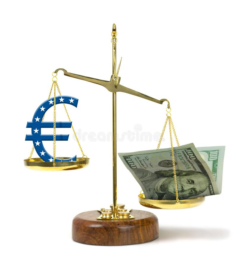 United States one hundred dollar bill outweighing Euro symbol on a gold scale representing a strong US currency and gdp royalty free stock images