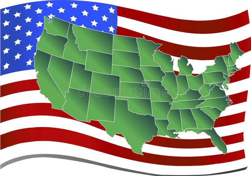 United states over american flag