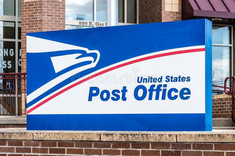United States Post Office Exterior and Trademark Logo stock image