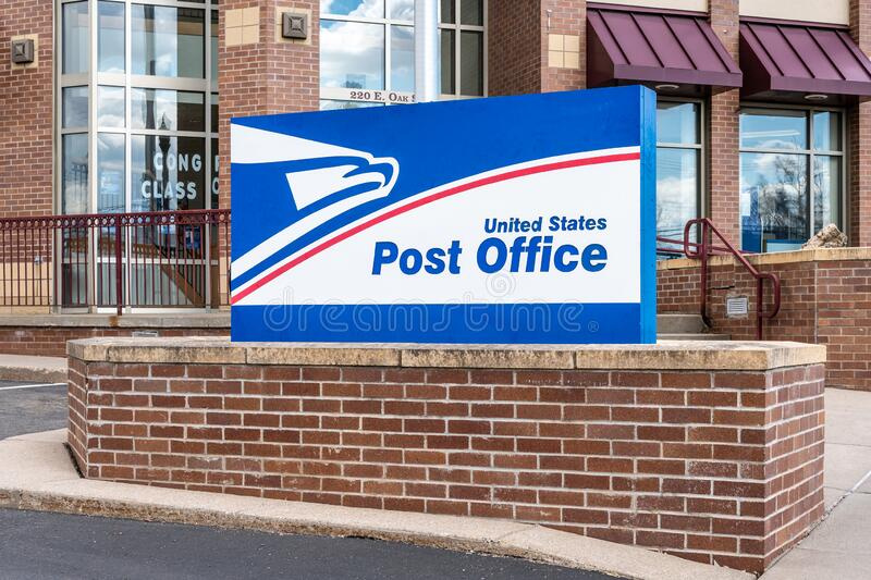 United States Post Office Exterior and Trademark Logo royalty free stock photo