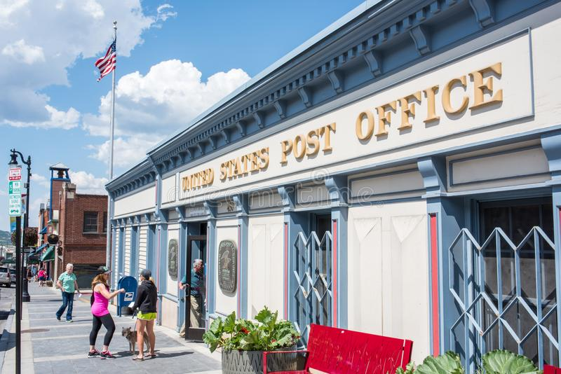 United States Post Office in Park CIty, Utah. Park City, Utah: July 31, 2017: United States Post Office in Park City, Utah. Park City, Utah has two skil lodges royalty free stock photo