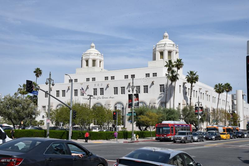 United States Post Office Terminal Annex in Los Angeles. LOS ANGELES, CA/USA  - APRIL 14, 2019: the USPS Terminal Annex in Los Angeles is an example of Mission stock images