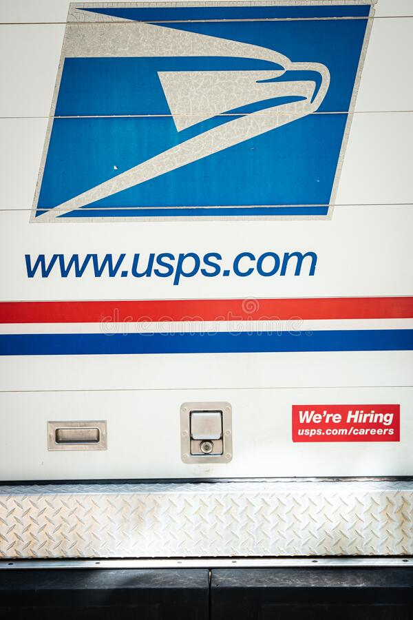 United States Postal Service Now Hiring. Charlottesville, Virginia , United States May 4, 2020 Postal Service truck parked in apartment complex on sunny day stock images